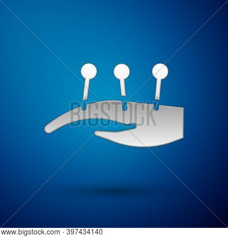 Silver Acupuncture Therapy On The Hand Icon Isolated On Blue Background. Chinese Medicine. Holistic