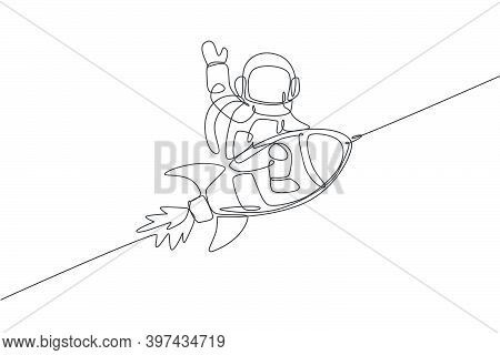 One Single Line Drawing Of Astronaut In Spacesuit Floating And Discovering Deep Space While Sitting