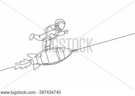 One Single Line Drawing Of Astronaut In Spacesuit Floating And Discovering Deep Space While Standing