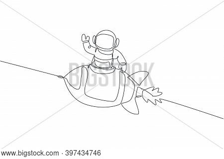 One Continuous Line Drawing Of Spaceman Astronaut Science Discovering Cosmos Galactic While Waving H