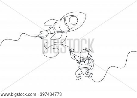 One Single Line Drawing Astronaut In Spacesuit Floating And Discovering Deep Space With Rocket Space