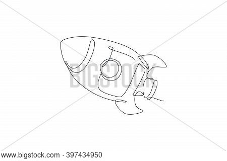 One Single Line Drawing Of Simple Vintage Rocket Takes Off Into The Outer Space Graphic Vector Illus