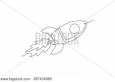 One Single Line Drawing Of Simple Vintage Rocket Takes Off Into The Outer Space Vector Graphic Illus