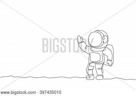 One Single Line Drawing Of Young Astronaut In Spacesuit Flying At Outer Space Vector Graphic Illustr