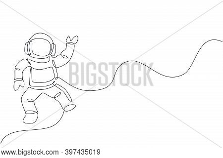 One Continuous Line Drawing Of Young Astronaut Scientist Exploring Outer Space In Retro Style. Space