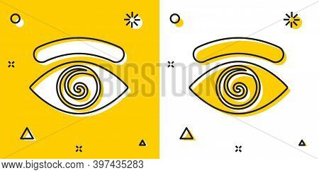 Black Hypnosis Icon Isolated On Yellow And White Background. Human Eye With Spiral Hypnotic Iris. Ra