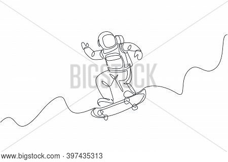 Single Continuous Line Drawing Of Astronaut Riding Skateboard On Moon Surface, Outer Deep Space. Spa