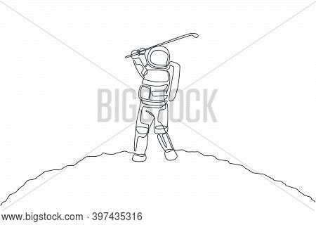 One Continuous Line Drawing Of Astronaut Golf Training On Moon Surface, Deep Space Galaxy. Spaceman