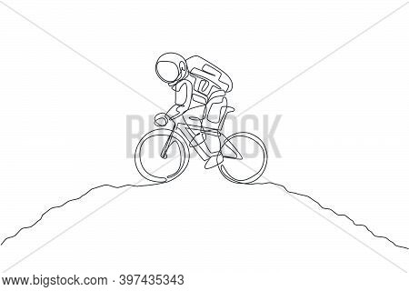 One Single Line Drawing Of Spaceman Astronaut Practice Bicycle On Moon Surface Cosmic Galaxy Vector