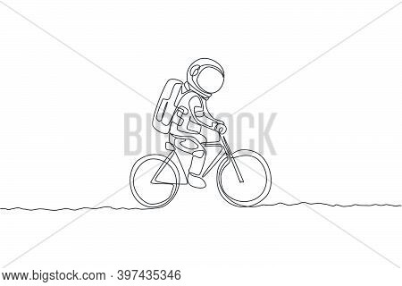 One Single Line Drawing Of Spaceman Astronaut Riding Bicycle On Moon Surface, Cosmic Galaxy Vector I