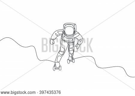 Single Continuous Line Drawing Of Astronaut Exercising On Roller Skates On Moon Surface, Deep Space.