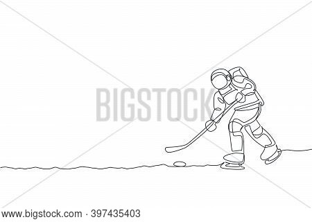 One Single Line Drawing Spaceman Astronaut Practicing Ice Hockey In Cosmic Galaxy Vector Graphic Ill