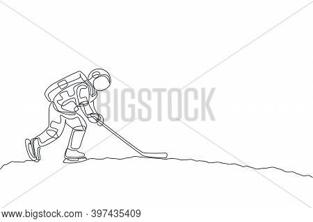 One Continuous Line Drawing Of Astronaut Training Ice Hockey On Moon Surface, Deep Space Galaxy. Spa