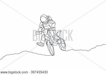 One Single Line Drawing Spaceman Astronaut Practicing Motocross In Cosmic Galaxy Vector Illustration