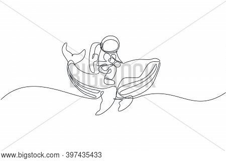 Single Continuous Line Drawing Of Cosmonaut With Spacesuit Riding Blue Whale, Giant Mammal Animal In