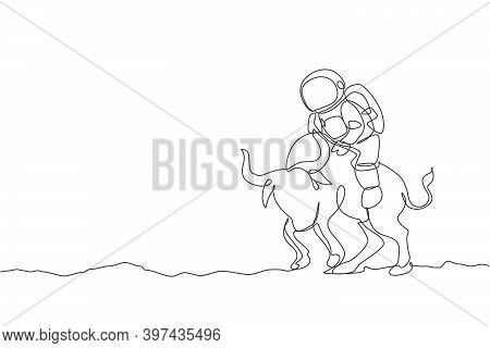One Continuous Line Drawing Of Spaceman Take A Walk Riding An Angry Bull, Wild Animal In Moon Surfac
