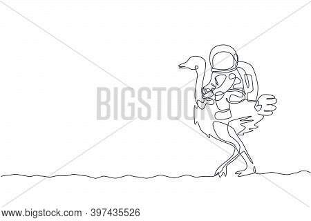 Single Continuous Line Drawing Of Cosmonaut With Spacesuit Riding Ostrich, Big Bird Animal In Moon S
