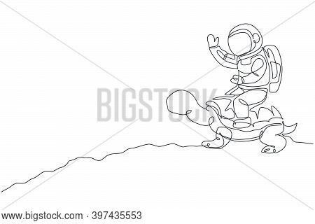 One Continuous Line Drawing Of Spaceman Take A Walk Riding A Tortoise And Waving Hand In Moon Surfac