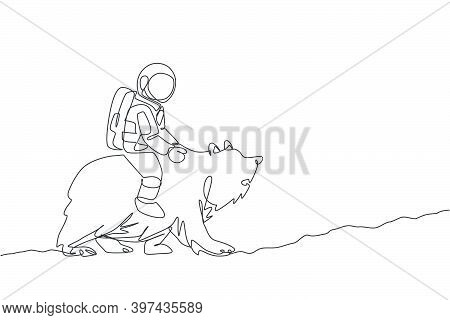 Single Continuous Line Drawing Of Cosmonaut With Spacesuit Riding Bear, Wild Animal In Moon Surface.