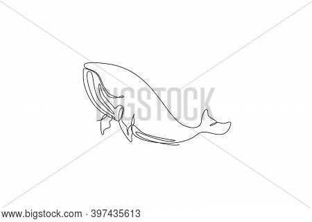 One Single Line Drawing Of Blue Whale Vector Illustration. Endangered Mammal Animal In Ocean. Gigant