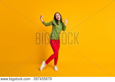 Full Length Body Size View Of Attractive Ecstatic Cheery Girl Dancing Having Fun Celebrating Isolate