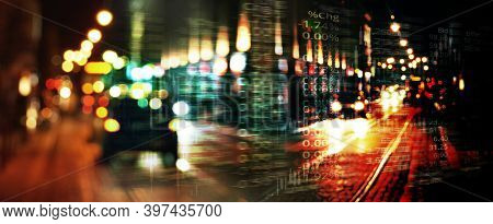 Index Number Of Trade Stock Market On Glow Blur Road City Night Light Banner Business Background