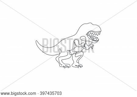 Single Continuous Line Drawing Of Scary Tyrannosaurus Rex Dinosaurs. Prehistoric Museum Logo Concept
