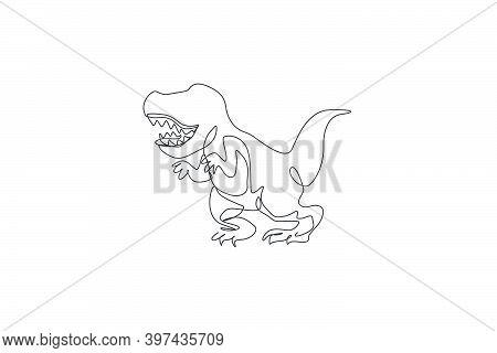 One Continuous Line Drawing Of Roaring Tyrannosaurus Rex Dinosaur. Prehistoric Museum Logo Concept.
