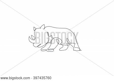 One Continuous Line Drawing Of Big African Rhinoceros. Wild Animal National Park Conservation. Safar