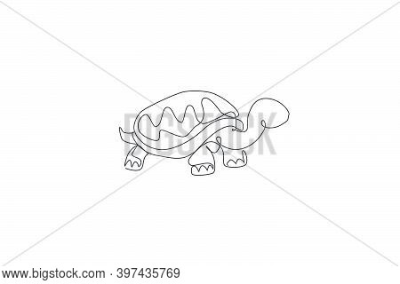 One Continuous Line Drawing Of Big Cute Tortoise In Galapagos Island. Wild Animal National Park Cons