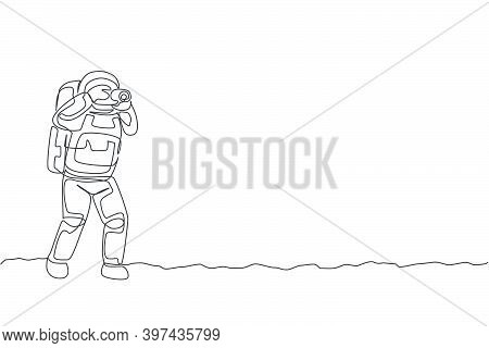 One Continuous Line Drawing Of Astronaut Doing Photography With Dslr Camera In Moon Cosmic Galaxy. O
