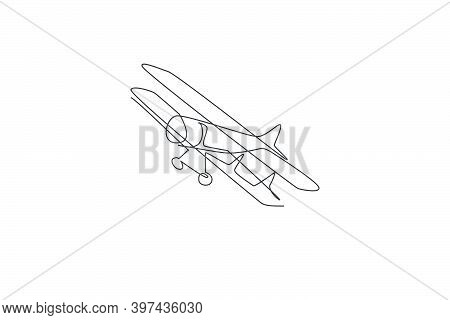 One Single Line Drawing Of Vintage Biplane Flying On The Sky Vector Illustration. Airplane Vehicle F