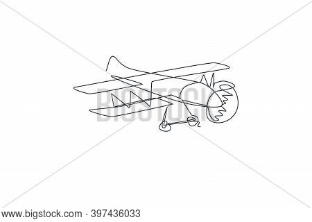 Single Continuous Line Drawing Of Retro Biplane Flying On The Sky. Airplane Vehicle For War Concept.