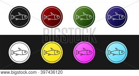 Set Served Fish On A Plate Icon Isolated On Black And White Background. Vector.