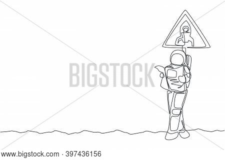 One Continuous Line Drawing Of Astronaut Standing And Leaning To Sign Board While Reading Newspaper