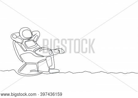 One Continuous Line Drawing Of Young Happy Astronaut Sleeping Relax On Reclining Chair In Moon Surfa