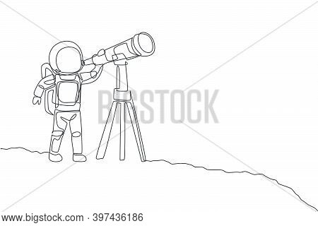 One Continuous Line Drawing Of Young Happy Astronaut Looking Galaxy Using Telescope In Moon Surface.