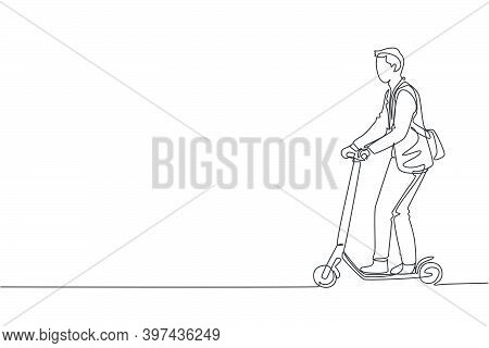 One Single Line Drawing Of Young Energetic Man Riding Electric Scooter At City Park Vector Graphic I