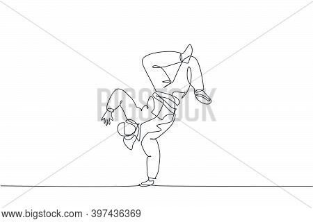One Single Line Drawing Of Young Modern Street Dancer Man With Hoodie Performing Hip Hop Dance On Th