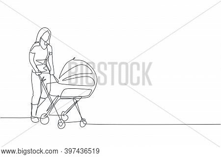 One Continuous Line Drawing Of Young Happy Mother Pushing Baby Trolley At Outdoor Park. Happy Loving