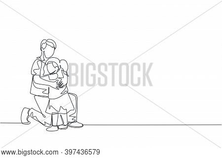 One Single Line Drawing Of Young Happy Father Hugging His Lovely Daughter Full Of Warmth At School V