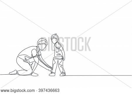 One Single Line Drawing Young Father Tying His Son Shoelaces Before Go To School, Parenting Time Vec