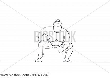 Single Continuous Line Drawing Of Young Big Fat Japanese Sumo Man Training At Arena Gym Center. Trad