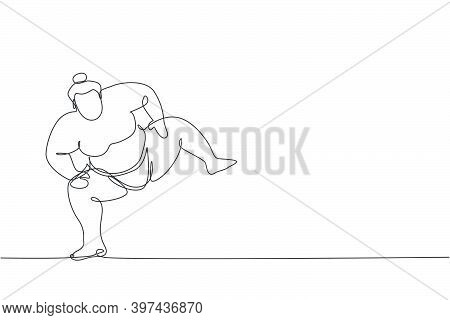 One Continuous Line Drawing Of Young Big Japanese Rikishi Man Prepare To Fight At Festival Tournamen