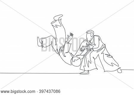 One Continuous Line Drawing Of Two Young Men Aikido Fighter Practice Sparring Fight At Dojo Training