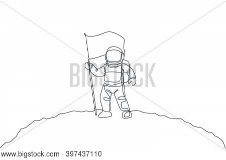 One Single Line Drawing Of Space Man Astronaut Exploring Moon Surface And Planting The Flag To Mark
