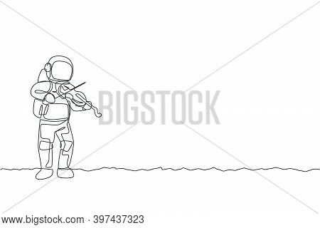 One Single Line Drawing Of Spaceman Playing Violin Musical Instrument In Deep Space Vector Graphic I