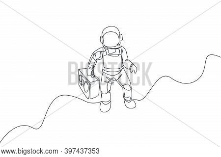 One Single Line Drawing Of Spaceman Flying And Bringing Retro Radio In Deep Space Graphic Vector Ill