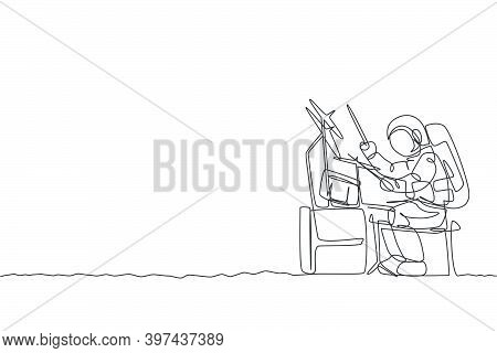 One Single Line Drawing Of Spaceman Drummer Playing Drum Set Musical Instrument On Moon Surface Vect