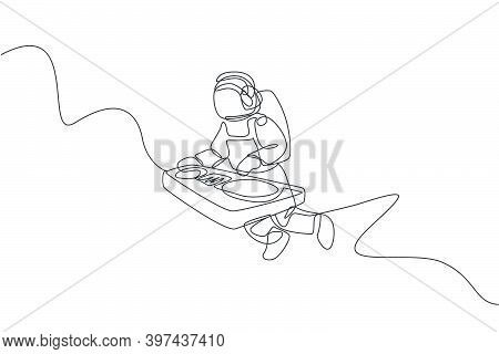 Single Continuous Line Drawing Of Astronaut Playing Dj Audio Mixer Musical Instrument In Cosmic Gala